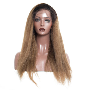 1b/30 Ombre Lace Front Brazilian Kink Straight Remy Human Hair Wigs 130% Density with Baby Hair, Today Only Collection, Royal Crown Wigs