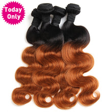 Ombre Brazilian Human Hair Bundles With Lace Closure Body Wave 3 Bundles With Closure Two Tone 1b/30 Non Remy Hair, Today Only Collection, Royal Crown Wigs