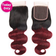 Burgundy Brazilian Hair Body Wave 3 Bundles With Closure Ombre Human Hair Bundles With Lace Closure 1b/99J Non Remy, Today Only Collection, Royal Crown Wigs