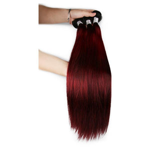 Ombre RedWine Color Peruvian Straight Human Hair Remy Bundles With Pre Plucked Swiss Lace Front Closure