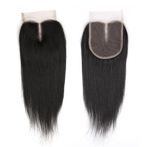 Peruvian Straight Natural Color Human Hair Remy Bundles With Preplucked Lace Closure