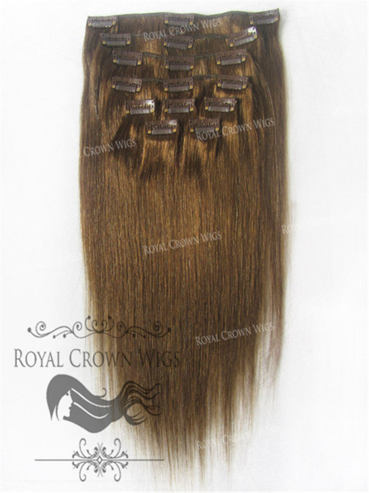 Brazilian 9 Piece Straight Human Hair Weft Clip-In Extensions in #4, Clip-In Hair Extension, Royal Crown Wigs