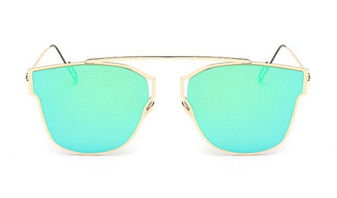 Steampunk Sunglasses - Sierra - Gold & Green Mirrored - levur