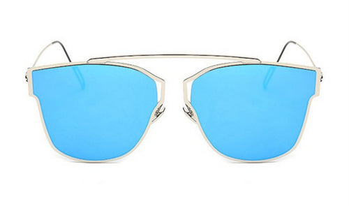 Steampunk Sunglasses - Sierra - Silver & Blue Mirrored - levur