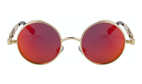 Steampunk Sunglasses - Oxford - Gold & Red Mirrored - levur