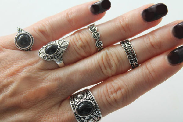Black Stone Rings Set (5 pcs/Set)