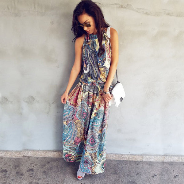 Summer Boho Sleeveless Maxi Dress