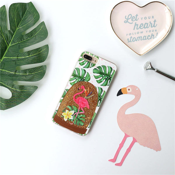 Flamingo Case with Liquid Glitter