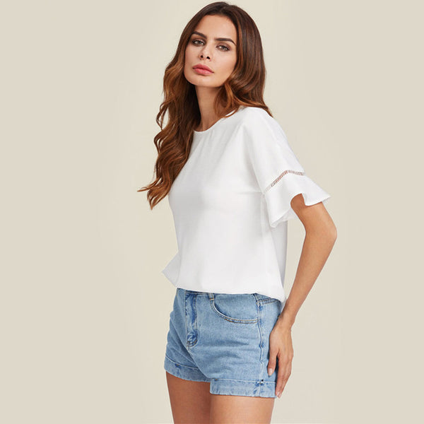 Trumpet Sleeve White Blouse