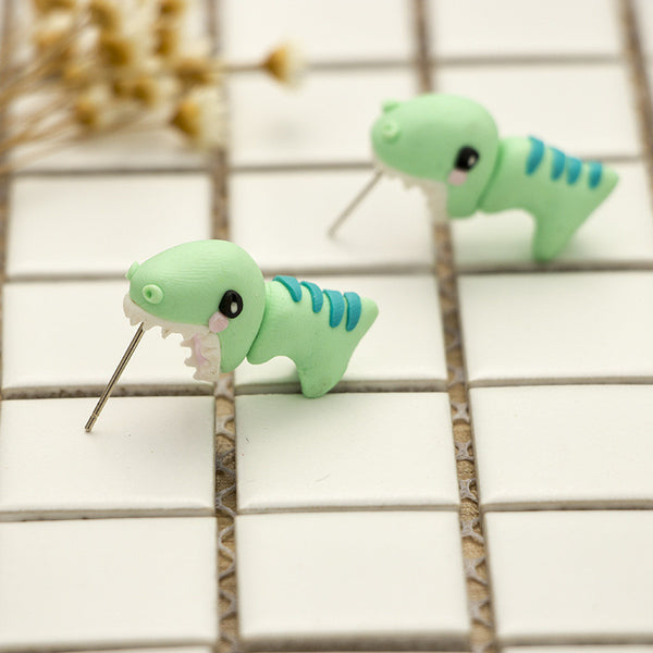 Handmade 3D Biting Earring (Cute Dinosaur)