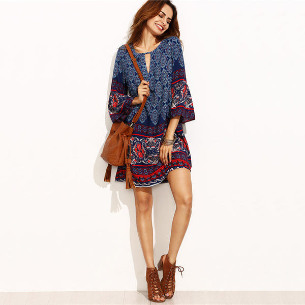 Boho Tribal Long-Sleeve Dress