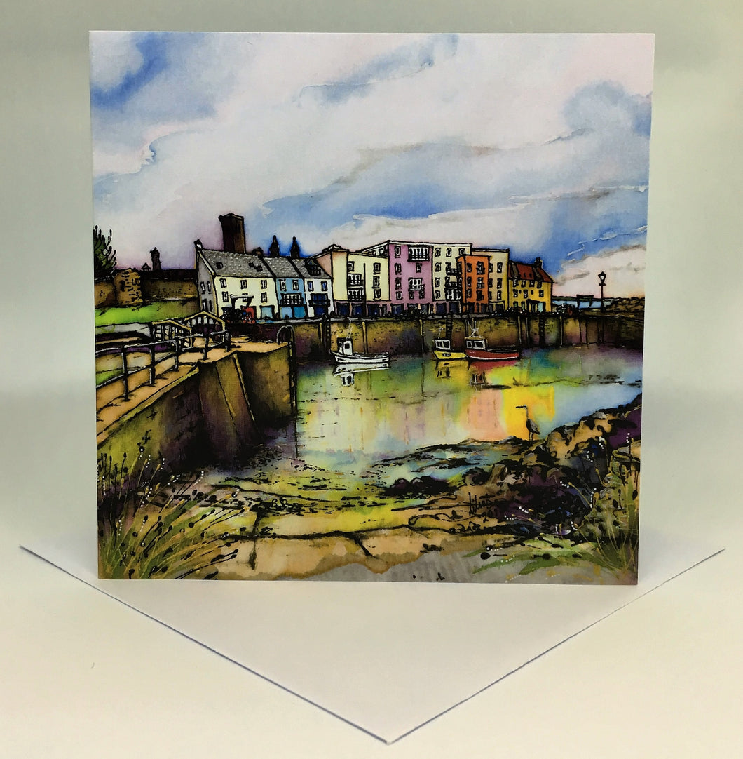 St Andrews Harbour Reflections Card