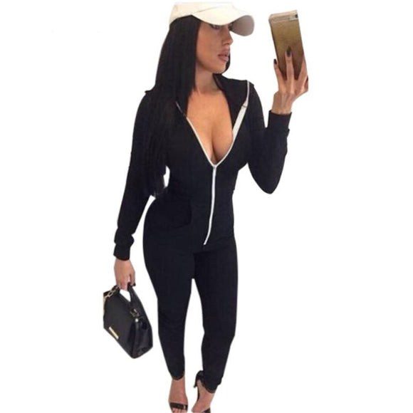 One Piece Long Sleeve Front Zipper Hooded Jumpsuit