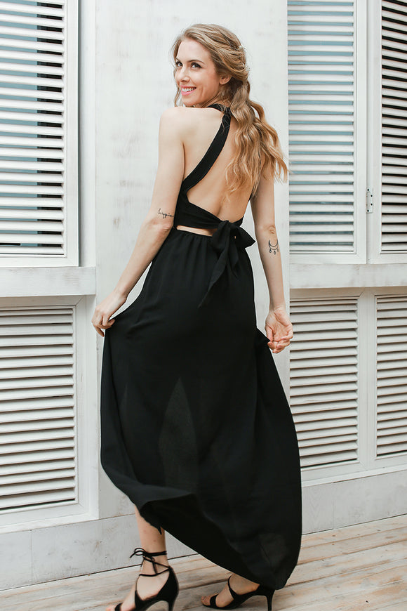 Embroidery chiffon halter backless black vintage dress