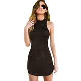 Choker Neck Stripped Halter Bodycon Mini Dress