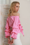 Ruffled off shoulder lantern sleeve waist tie cotton blouse