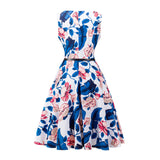 Cotton Floral Print Sleeveless Vintage Dress With Belt