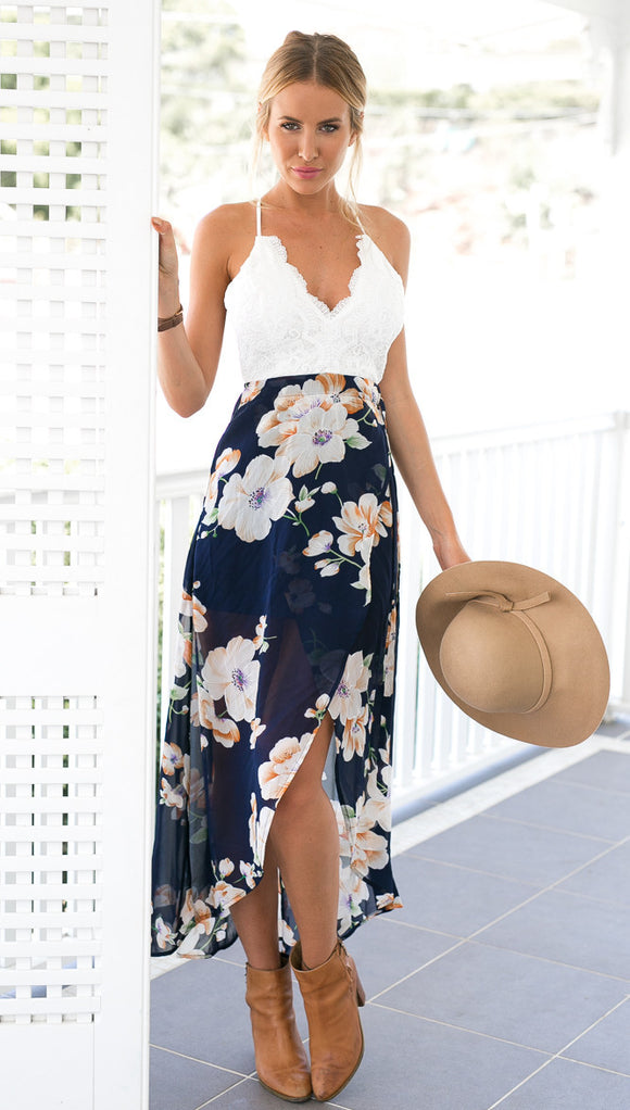V neck flower print patchwork lace long dress