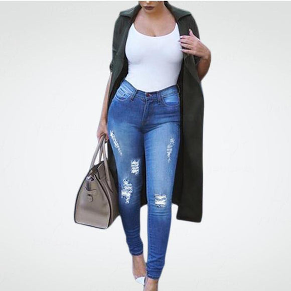 Denim Skinny Distressed Ripped Fading Pencil Jeans