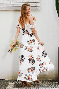 Floral print  strap v neck split backless maxi dress