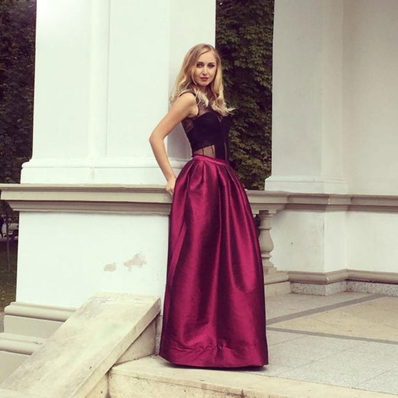 High Waist Pleated Long Maxi floor length skirt