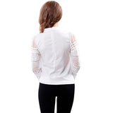 Fashion Lace Cutout Long-sleeve Blouse Top Shirt