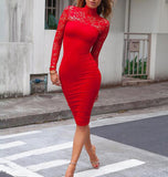 Long Sleeve Lace Club Bandage Elastic Bodycon Dress