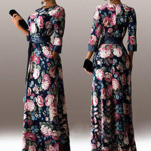 Fashion Print O-neck elegant long Dress with belt