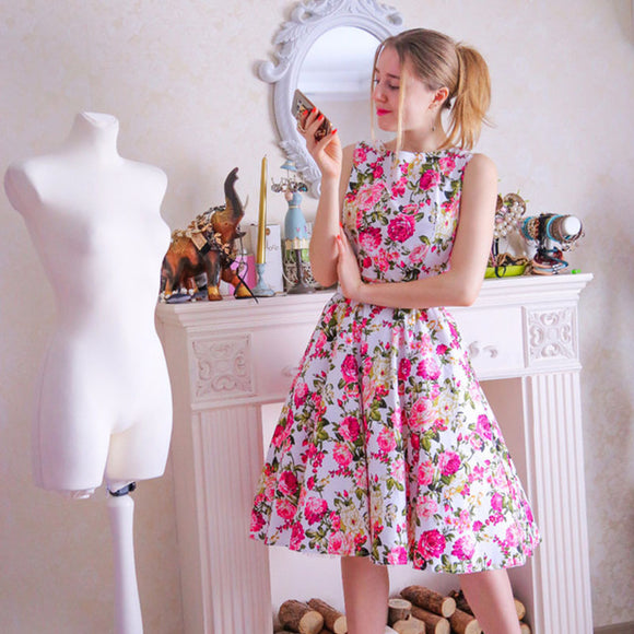 Sleeveless floral Print elegant patchwork vintage dress