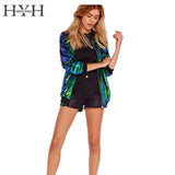 HYH HAOYIHUI Autumn Women Sequin Coat Green Bomber Jacket  Long Sleeve Zipper Streetwear Jacket Preppy Loose Casual Basic Coat