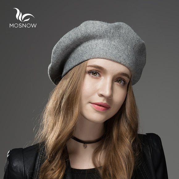Mosnow 2016 New Wool Cashmere Winter Hat  Womens Warm Brand Casual High Quality Women'S Vogue Knitted  Hats For Girls Berets