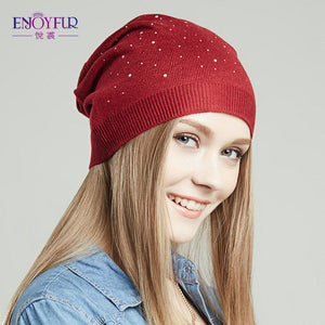 ENJOYFUR women hat for spring knitted skullies street fashion hats 2017 new arrival casual caps good quality female hat