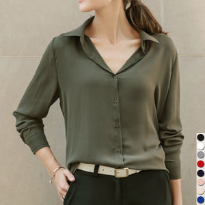 Long Sleeve Turn-Down Collar Solid Chiffon Blouse Top