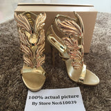 Hot sell women high heel sandals gold leaf flame gladiator sandal shoes party dress shoe woman patent leather high heels