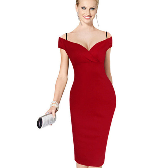 Elegant Solid Stylish Strap Slash Neck Bodycon Pencil