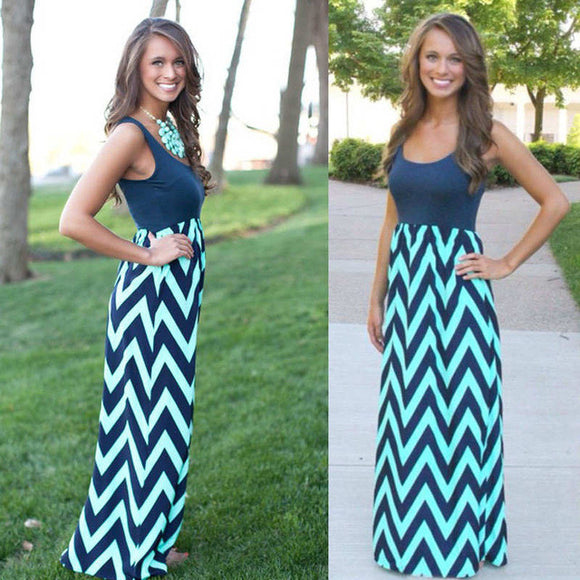 Striped Print Tank sleeve style Long Dress