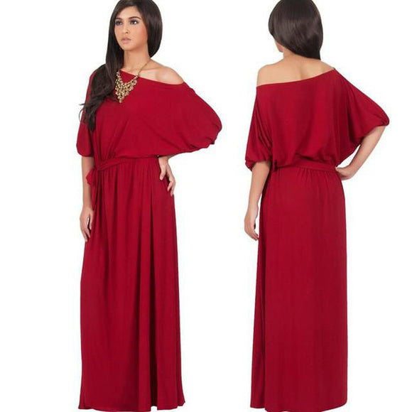 Sleeve Slash Neck Solid Color Maxi Dress