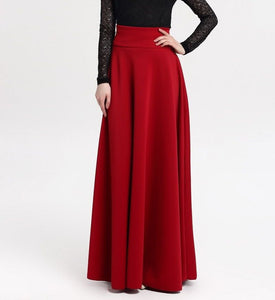 High Waist Pleated Elegant Solid Color Long Skirt