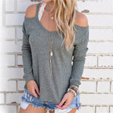 Hollow Out Solid Trendy Slim Long Sleeve Tee