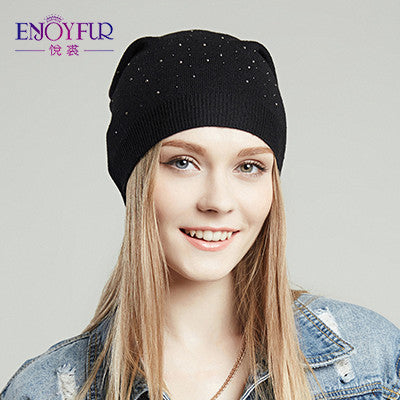 eace947bff2 ... ENJOYFUR women hat for spring knitted skullies street fashion hats 2017  new arrival casual caps good ...