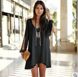 Casual Long sleeve solid color Chiffon Loose V neck dress