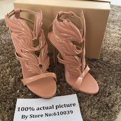 ... Hot sell women high heel sandals gold leaf flame gladiator sandal shoes  party dress shoe woman ... e73a73dd71bf