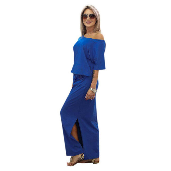 Short Sleeve Side Slit Loose Maxi Dress with Pocket