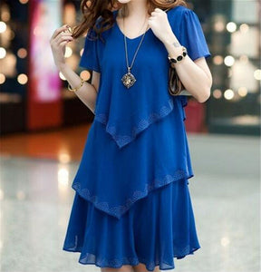 Chiffon v neck ruffle summer/ party short dress