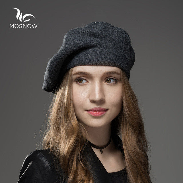Mosnow 2016 New Wool Cashmere Winter Hat Womens Warm Brand Casual