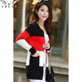 Free shipping 2017 fall and winter cardigan sweater Knitted Cotton Patchwork O-Neck Pink/Blue/red Fashion Leisure cardigan women