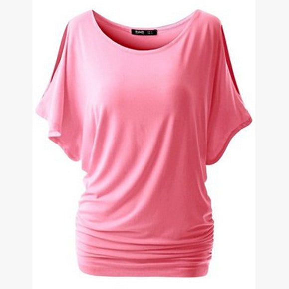 Batwing Sleeve Solid O-Neck Cotton Blend Tee Top