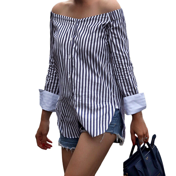 Striped Off the Shoulder Cotton Long Sleeve Top