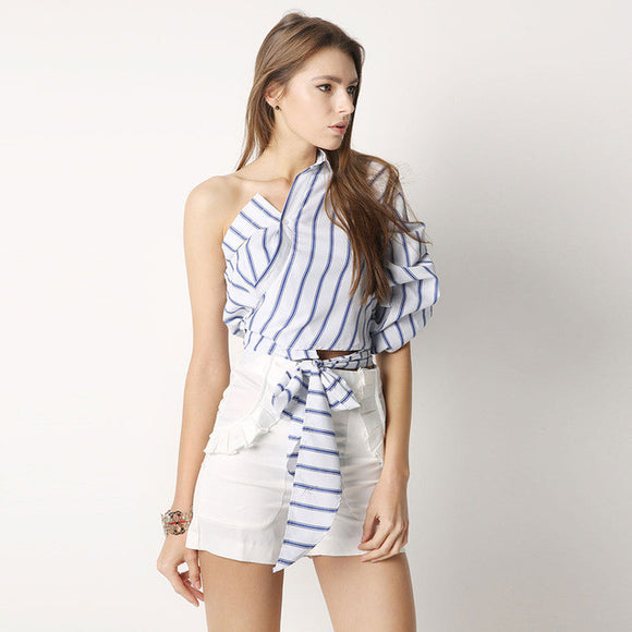 Striped One Shoulder Puff Sleeve Bow Ruffle Waist Tie Top