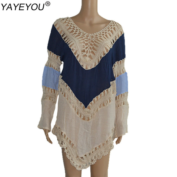 YAYEYOU 2017 Women Boho Shirt V-Neck Long Sleeve Hollow Out Sweater Casual Loose Patchwork Beach Kimono Lady Blouses Tops